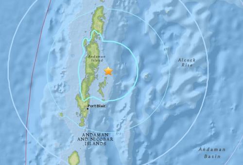 安达曼群岛东部海域发生5.6级地震,震源深度69.4公里。(图片来源:美国地质勘探局网站截图)