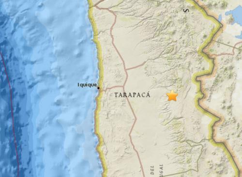 智利北部地区发生5.4级地震 震源深度103.1公里