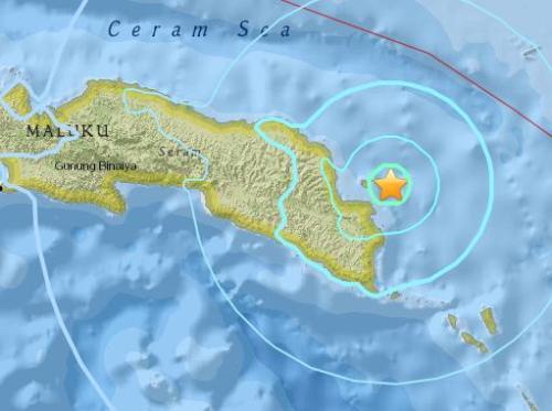 印尼马鲁古群岛东部海域发生5.7级地震
