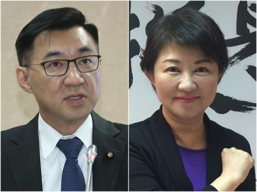 """资料图:国民党籍民意代表卢秀燕(右)与江启臣(左)。图片来源:""""中央社"""""""