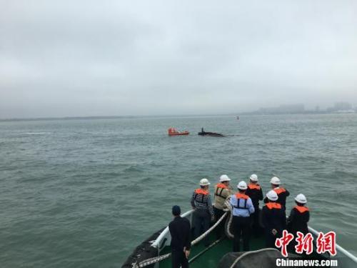 碰撞事故中沉没的货船被拖离现场 翟三伟 摄