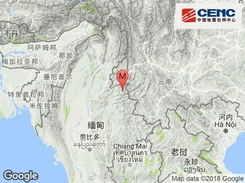 缅甸发生3.6级地震 震源深度5千米