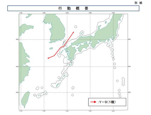日本防卫省发布的中国军机飞行路径图