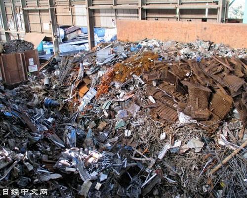 中国铁废料出口可能导致日本国内供应过剩(千叶县的铁废料处理工厂)