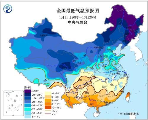 寒潮黄色预警发布 山东河南安徽局地低于-12℃