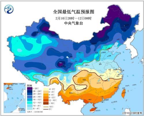 全国最低气温预报图(2月10日20时-12日08时)图片来源:中央气象台