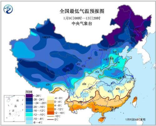 全国最低气温预报图(1月9日08时-13日20时)