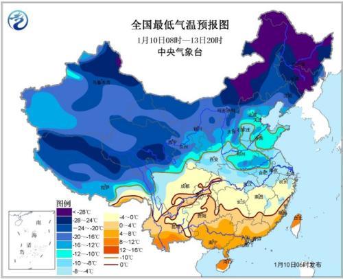 全国最低气温预报图(1月10日08时-13日20时)