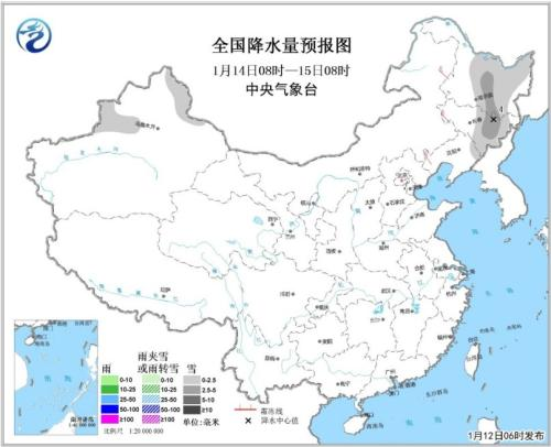 全国降水量预报图(1月14日08时-15日08时)