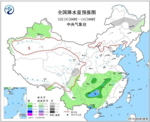 全国降水量预报图(3月13日08时-14日08时)