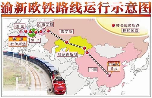 渝新欧国际铁路走势图(图源:新华社)