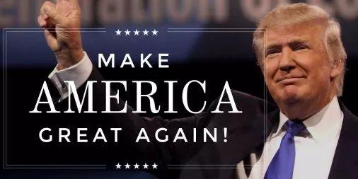 ▲美国总统特朗普的竞选口号是:让美国再次伟大!