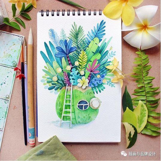 手绘丨水彩画出的森林小屋,每个都想住上一辈子