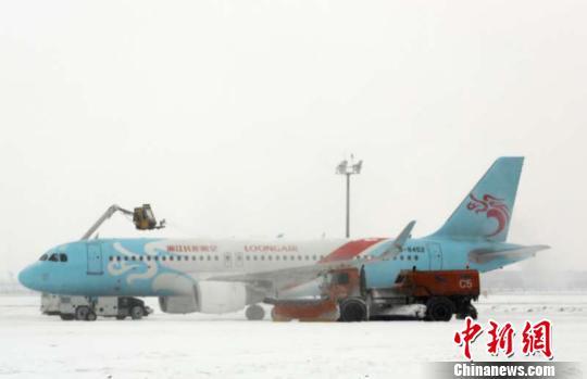 3日,大雪再次来袭黑龙江,哈尔滨太平国际机场80余航班受影响。图自中国新闻网 王雄非 摄