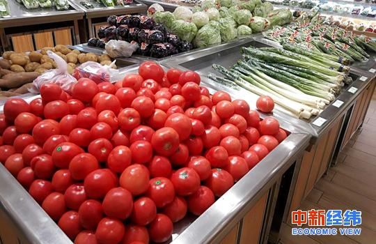 超市货架上的蔬菜。中新经纬 张义华 摄