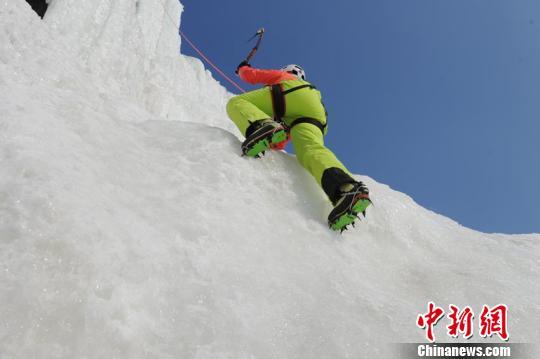 选手在难度赛项目上奋力攀爬 刘栋 摄