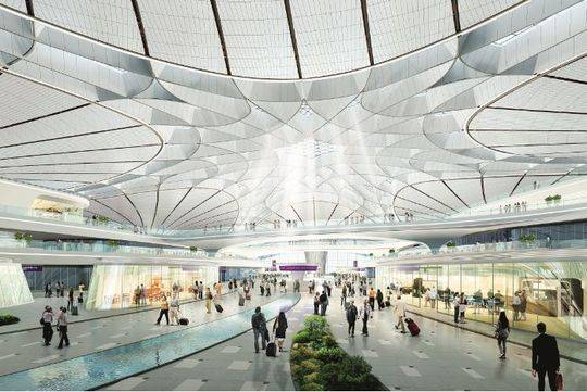 新机场中央峡谷(效果图)。图/受访者提供