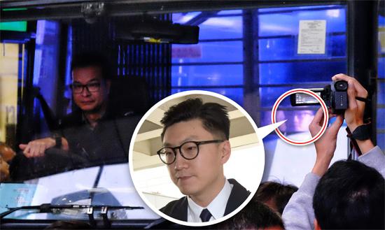 梁天琦(红圈者)由囚车押离香港特区高院(图源:大公网)