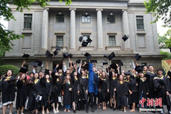 资料图:大学生庆祝结业。中新社记者 泱波 摄