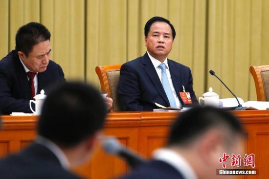 3月6日,十三届全国人大一次会议海南省代表团在北京举行全体会议,审议政府工作报告。图为全国人大代表、海南省委书记刘赐贵发言。 中新社记者 富田 摄