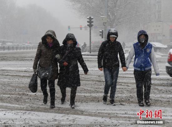 长春市民在雪中出行。刘栋 摄