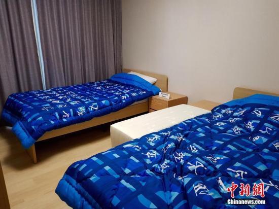 运动员村楼内房间。 中新社记者 吴旭 摄
