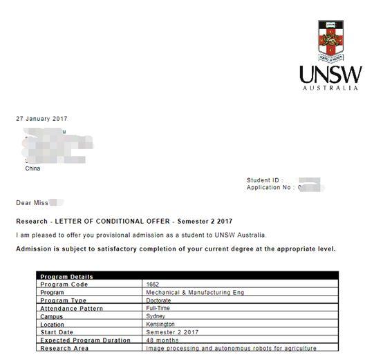 ▲图为其中一名学生获得的澳大利亚名校新南威尔士大学的录取通知书和国家留学基金管理委员会的公派证明