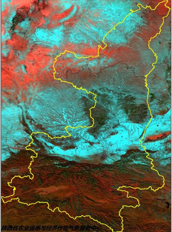 陕西积雪分布卫星云图。(白青色区域为目前积雪覆盖区)
