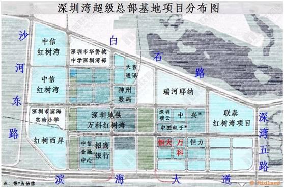 (图片来源于美联物业全国研究中心) 加上万科为自己拿到的一块地,至此万科在深圳湾超级总部基地已经有两块地的开发权。而环顾周边的楼盘,中信红树湾与深圳湾超级总部基地只隔一路,目前二手房挂牌均价在137501万/,新房方面瑧湾汇备案价也达到了114000万/。