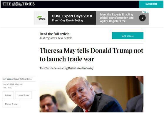 英国《泰晤士报》网站截图,特雷莎•梅告诉特朗普不要发动贸易战。