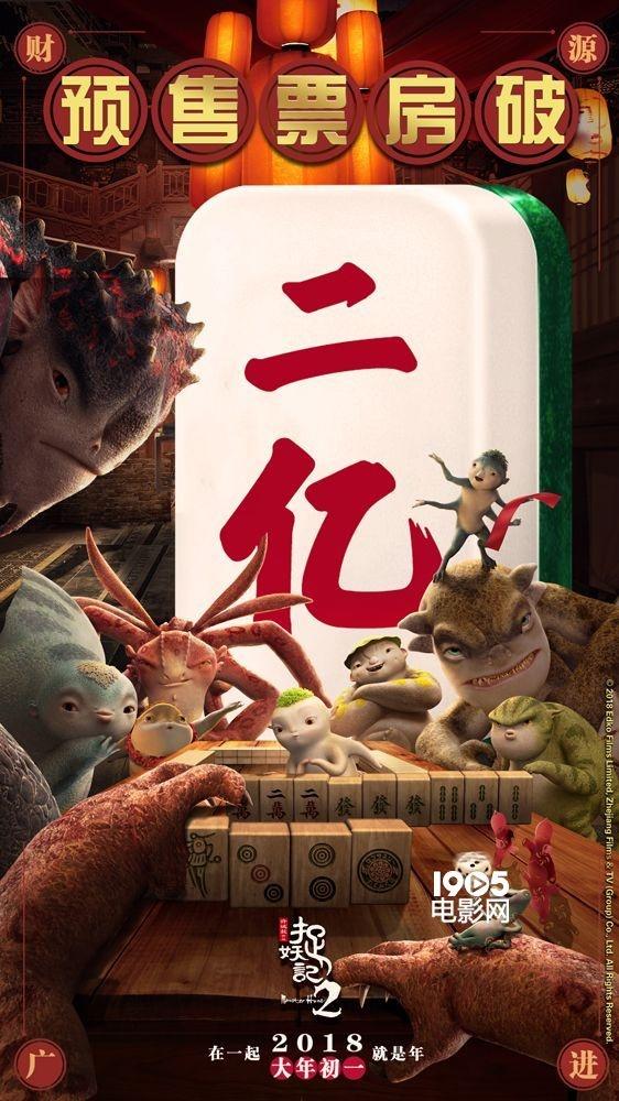 《捉妖记2》预售破2亿 创中国影史首日预售纪录