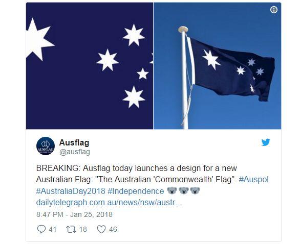 ▲图为呼吁更改国旗的团体提出的新国旗方案:去掉英联邦标志