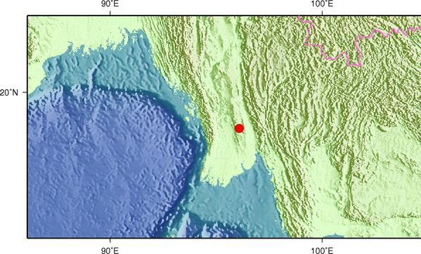 1月12日2时26分缅甸发生6.2级地震