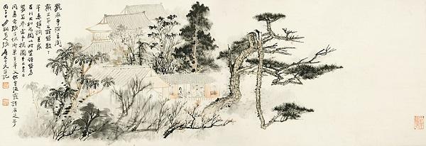 《龙泉寺检书图》 张大千 1936年 纸本设色 中国国家博物馆藏