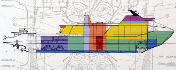 图为领袖级核动力破冰船构型示意图