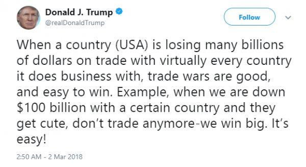 """▲3月2日,特朗普发推特称,打贸易战""""有好处"""",且""""易取胜""""。"""