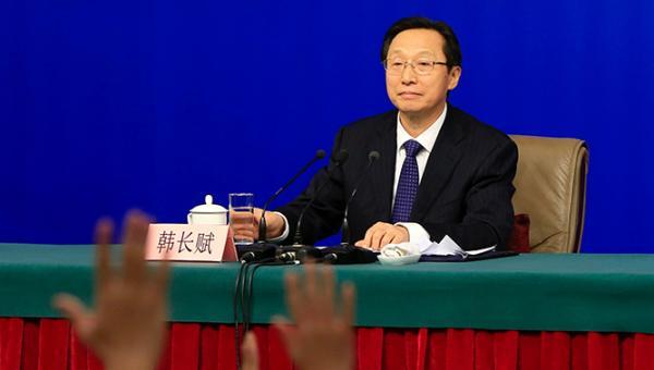3月7日,农业部部长韩长赋出席新闻发布会。澎湃新闻记者 赵昀 图
