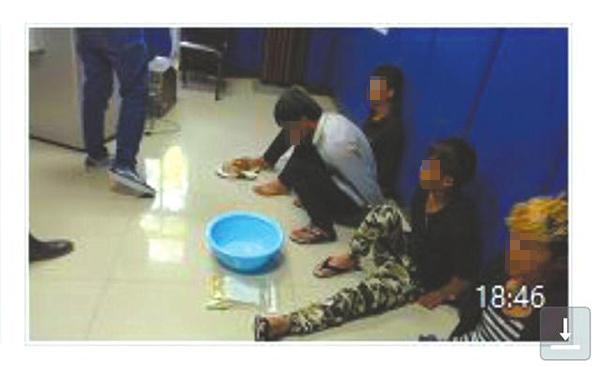 警方对5名犯罪嫌疑人的处理现场。(视频截图)