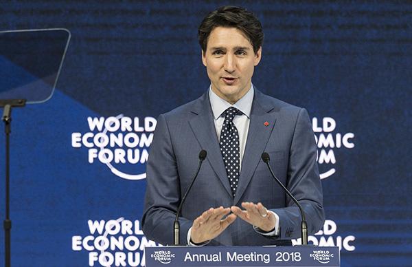 世界经济论坛第48届年会在达沃斯举行,加拿大总理特鲁多出席,并发