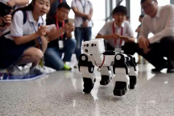 ▲资料图片:5月16日,一个四足仿生机器人在第四届中国机器人峰会的展览上展出。