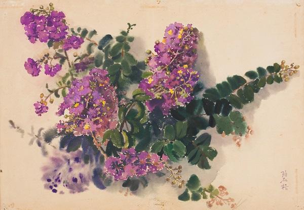 王碧梧 《紫薇花》 水彩 纸本 1982年