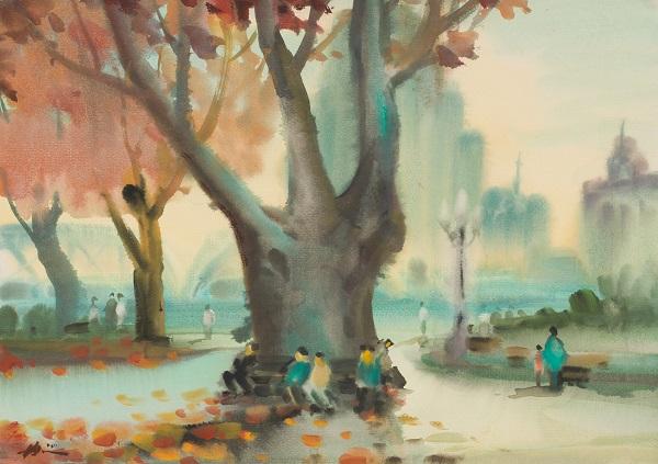 冉熙 《黄浦公园》 水彩 纸本 1950年