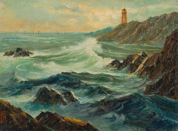 陆敏荪 《灯塔》 油彩 纸板 1948年