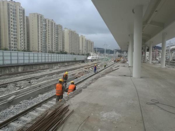龙岩火车北站施工进程,内部结构基本完成