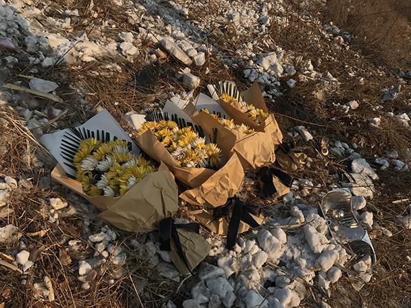 2018年1月6日,有人在事发地放了四束菊花。澎湃新闻记者 张维 图