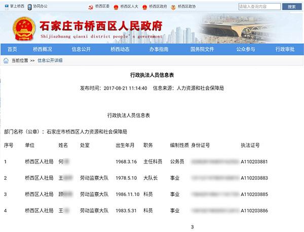 桥西区人社局《行政执法人员信息表》人员清单截图。图片系澎湃新闻基于保护隐私需要打码,原页面没有打码。