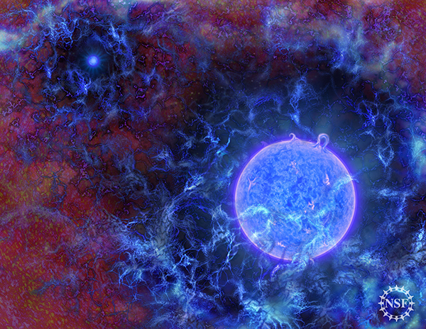最早的恒星(艺术想象图)本文所有图片来自:美国自然科学基金(NSF)