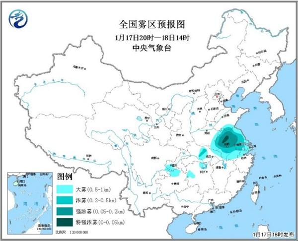 大雾黄色预警 苏皖中北部等地部分地区有强浓雾