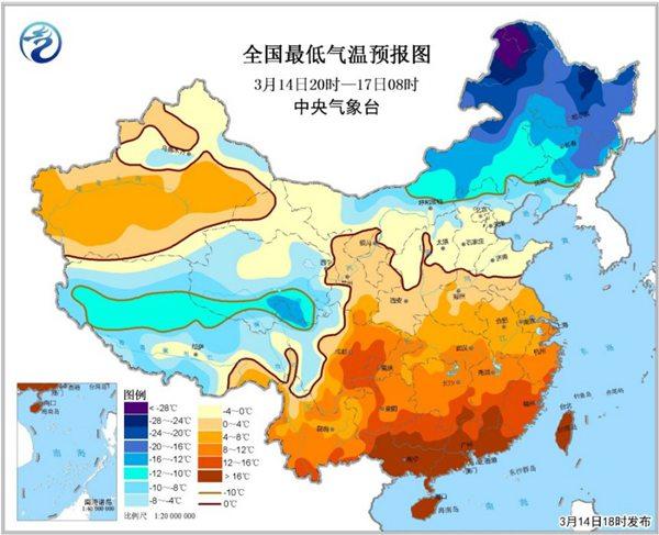 寒潮蓝色预警:华北江南等部分地区降幅将超12℃