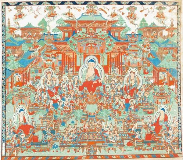 《临摹盛唐西方净土变图轴》 张大千 1941―1943年 布本设色 四川博物院藏